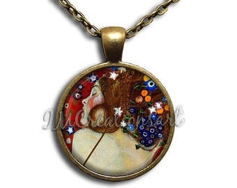 25% OFF - Klimt's Sea Serpent Glass Dome Pendant or with Chain Link Necklace AP127
