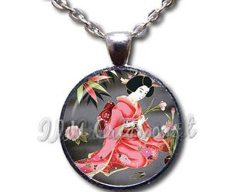 25% OFF - Geisha Woman Japanese Art Design Glass Dome Pendant or with Chain Link Necklace  AN142
