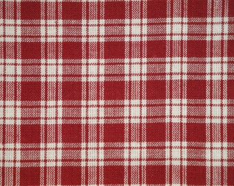 Homespun Material | Cotton Material | Primitive Material | Wine And White Large Plaid Material | Quilt Material | Home Decor Material