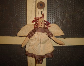 Raggedy Ann Angel Ornament  | Primitive Hanging Raggedy Ann | Small Handmade Cloth Raggedy Ann With Vintage Quilt Wings