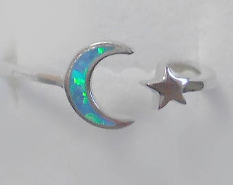 size 3 opal moon stars sterling silver ring size new vintage wholesale goddess wiccan - Wiccan Wedding Rings