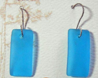 Sea Glass Sterling Silver Earrings Turquoise Aqua Beach Glass