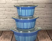 Pyrex Blue Barcode Print Covered Casserole Set - 3 nesting dishes w/ lids