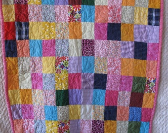 Pink Quilt Wallhanging Throw Vintage Handmade Patchwork 51 x 40