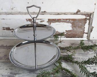 Vintage Chrome Tier Tray Two Tiered Tidbit Server - Pedestal