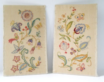 Vintage Embroidery Pair on Linen • 1960s Floral Bird Butterfly Embroidery