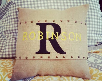 Monogram Burlap Pillow Wrap