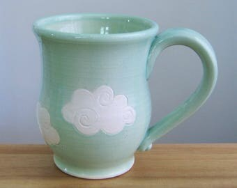 Cloud Mug, Pottery Coffee Mug with Fluffy Clouds 12 oz., Hand Thrown Stoneware Ceramic Cup in Mint Green