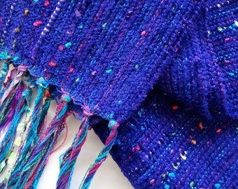 indigo blue chenille handwoven scarf