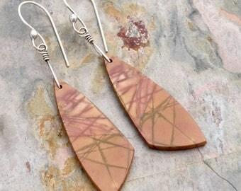 Picasso Jasper Earrings, Red Creek Jasper Dangle Earrings, Sterling Silver, Rust, Green and Purple Gemstone,  Handmade Ear Wire, #4822