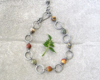 silver bracelet, metalwork bracelet, jasper and silver bracelet, rustic gemstone bracelet, oxidized silver jewelry
