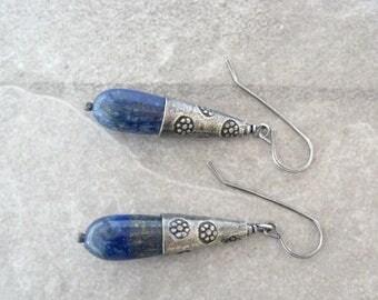 blue lapis dangle earrings, oxidized sterling and lapis earrings, blue boho earrings
