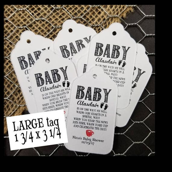 Baby Is On The Way When You Hear The News favor tag LARGE Tags instructions in description on how to personalize CHOOSE your Quantity