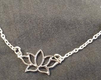 """Lotus pendant necklace, 19.5"""" length"""