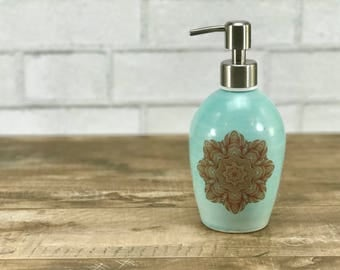 Porcelain soap dispenser, aquamarine, ceramic soap dispenser, lotion dispenser, bathroom accessory, mandala pattern and brushed nickel pump