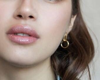 Mini Bobbi earrings / gold, minimalist gold earrings, small drop earrings, modernist earrings, long post stud earrings gold, contour