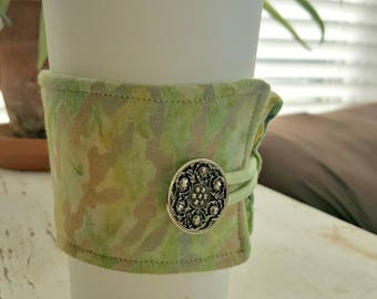 Multi-Colored Green Marble Java Jacket/Coffee Sleeve with Vintage Button