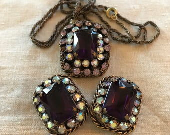 Amethyst Colored Rhinstone Clip Earrings and Matching Pendant Necklace
