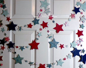 Red...White...and Blue Star Garland #2...9 feet of Die cut Stars...Antique looking designer papers and 80 lb card stock...machine stitched!
