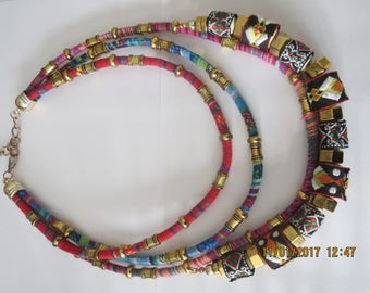 Colorful fabric necklace with metal beads