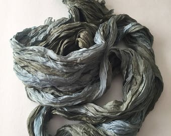 "Sage Green Silk Scarf Hand Dyed Long Fiber Art Unisex OOAK from ""Textured Silks"" Collection"