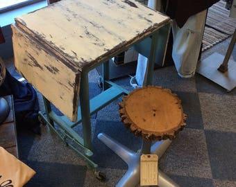 Handpainted Vintage Industrial Wood & Metal Desk  Table Office Cart