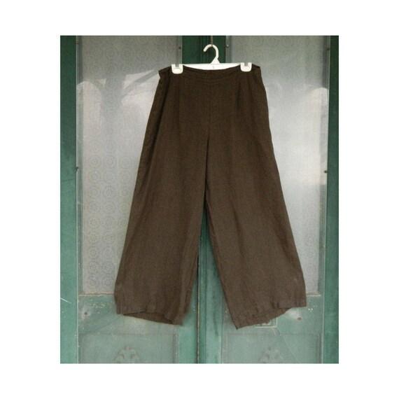 FLAX Designs Katherine's Pant -M- Chocolate Brown Linen