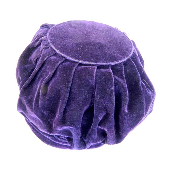 Vintage Purple Velvet Tam Puff Hat