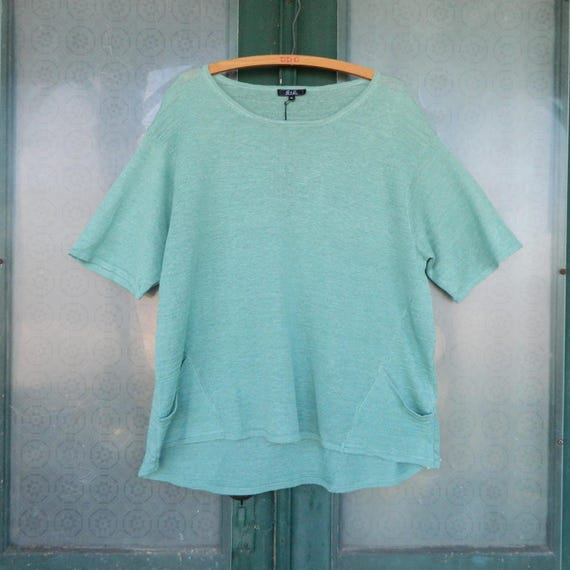 G & C Short-Sleeve Sweater Tee -XL- Sage Green Linen Knit NWT