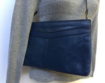 Vintage Navy Handbag Leather Navy Blue Purse Convertible Clutch Crossbody Bag TJW by Mervyns Made in Hong Kong
