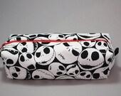 Boxy Makeup Bag- Jack Skellington Toss Print- Pencil Pouch - Nightmare Before Christmas
