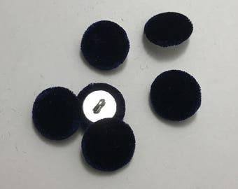 """Navy Blue SILK VELVET Fabric Buttons - Hand Made Buttons - set of 6 - 5/8"""""""