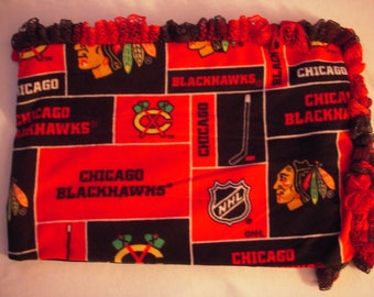 Blackhawks Ruffled Crochet Edge  Fleece  Blanket