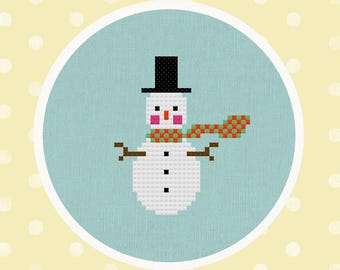 Scarfed Up Snowman. Winter Modern Simple Cute Counted Cross Stitch PDF Pattern Instant Download