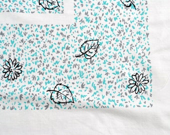 Vintage Cotton Tablecloth - Aqua Black and Gray on White Background Flowers Leaves Squiggles Table Cloth Grey