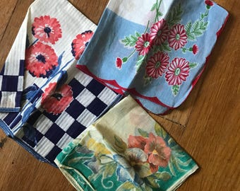 Vintage 40s 50s cotton floral hankies lot of three as is