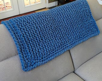 Lap Blanket - Wheelchair Blanket - Wool Lapghan, Toddler blanket - chunky knit throw, loom knitted blanket, wool throw READY TO SHIP