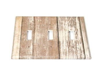 Triple Switchplate  Light Switch Cover  Switch Plate in Whitewash (284T)