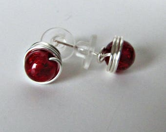 Red Post Earrings, Silver plated back, Non tarnish Ear Post, Red Ear Stud Earrings ,Minimalist, Jewelry Accessories, # 1278