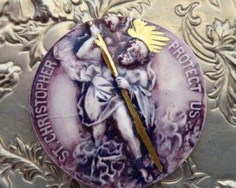 ON SALE RARE Saint Christopher Porcelain Medallion, Purple Glazed Plaque, Protector Of Travelers, Adventurers, Globetrotters, Religious Toke