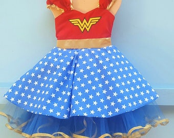 Wonder Woman dress, girls Wonder Woman costume, super hero costume , toddler girls costume, Halloween costume, wonder Woman tutu dress