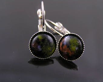 Multi Colored Cabochon Earrings, Small Earrings, Lever Back Earrings, Leverback Ear Wires, Affordable Jewelry