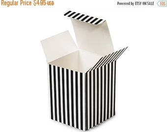 Summer Sale 6 Pack Black and White Stripe Paper Tuck Top Style Packaging Retail Gift Boxes 3.25X3.25X3.25 Inch Size