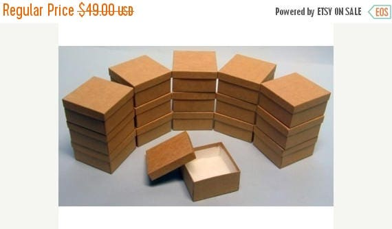 memorial day sale 100 Pack Kraft Color Deep Cotton Filled Jewelry Retail Gift Boxes 3.5 X 3.5 X 2 Inch Size Wholesale