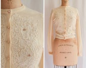 1950s Cardigan | Beaded Roses | Vintage 50s Sweater // Super Soft Ivory Knit Sweater Floral Lace Panel Front with Pearlescent Beads Size S/M
