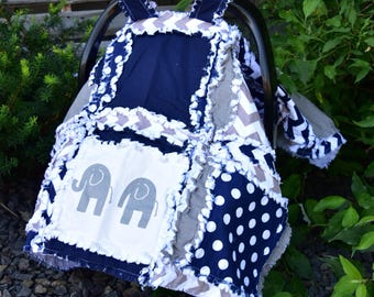 Elephant Car Seat Canopy- Navy Blue / Gray Car seat Canopy - Baby Carrier Cover - Boy Car Seat Cover - Carseat Cover - Boy Carseat Canopy