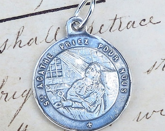 Etched St Agatha Medal - Patrons against breast cancer - Antique Reproduction