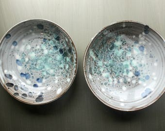 3 piece set: 2 bistro bowls and a serving bowl in speckled blue green