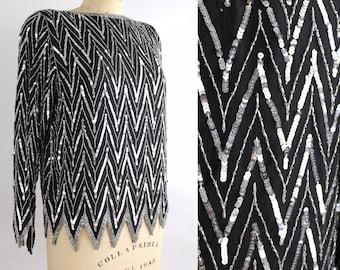 Vintage 1970s Silk Sequin Blouse | Zigzag Hem Silk Top | St Honore Beaded Silk Shirt |
