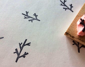 Tree branch rubber stamp// hand carved rubber stamp